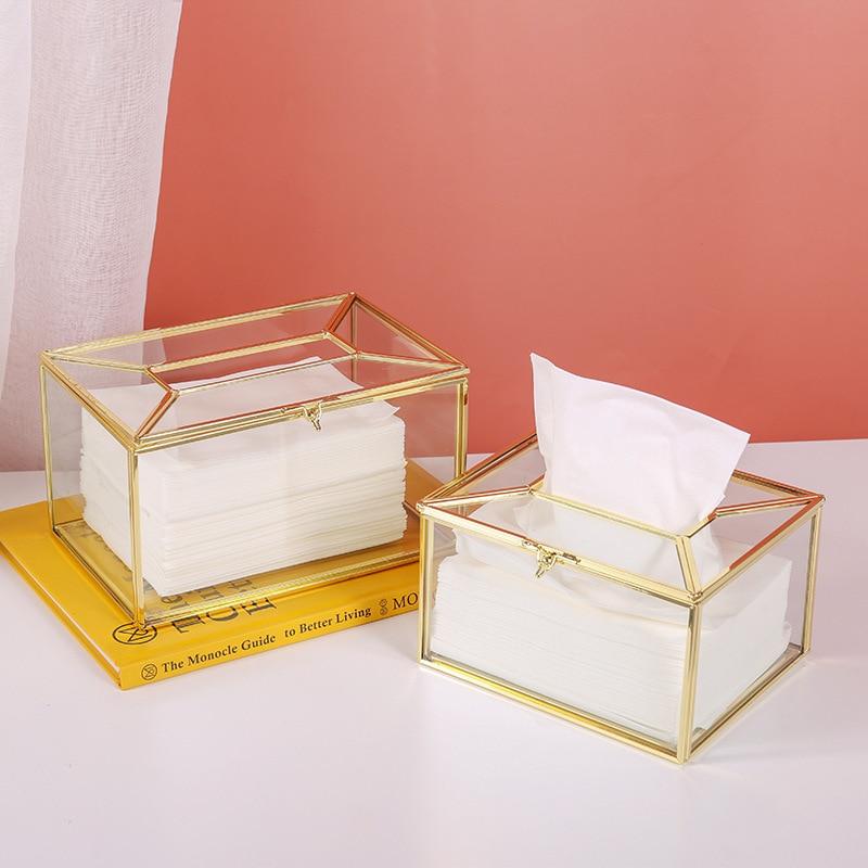 Коробка одноразовыми салфетками металлик Стекло Nordic Роскошные Chuangdian ткани автомобильный держатель туалетной контейнеры для хранения Домашний декор Организации