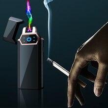 Allume-cigare électrique USB Plasma feu   À empreintes digitales tactiles, allume-cigare à Double Arc en métal coupe-vent, cadeau pour hommes