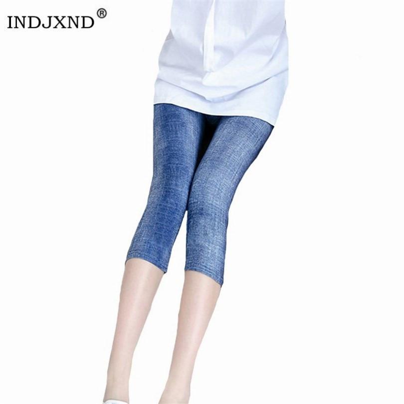 INDJXND Short Jeans Leggings for Women High Waist Elastic Denim Capri Pants Imitation Cowboy Slim Fitness Denim Blue Leggins