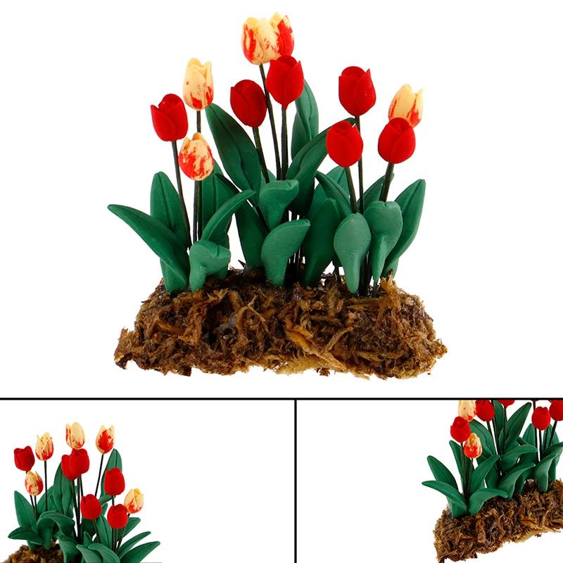 Miniatura tulipán Flor de resina niños casa de muñecas Hada para 1/12 casa de muñecas cocina comedor Decoración