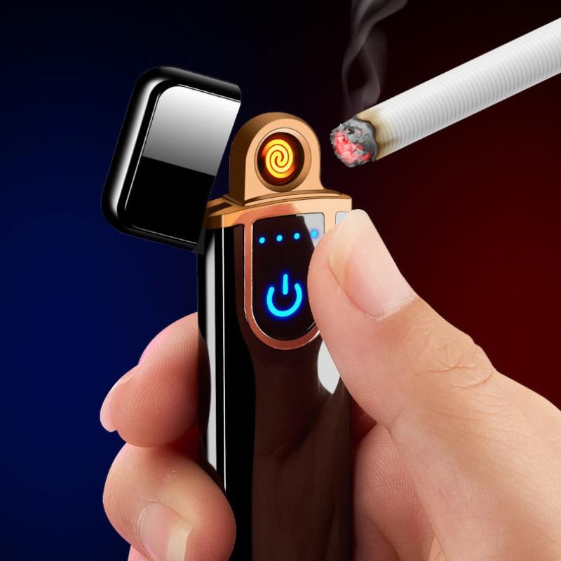 Mechero electrónico Mechero eléctrico USB, encendedor recargable a prueba de viento, cable...