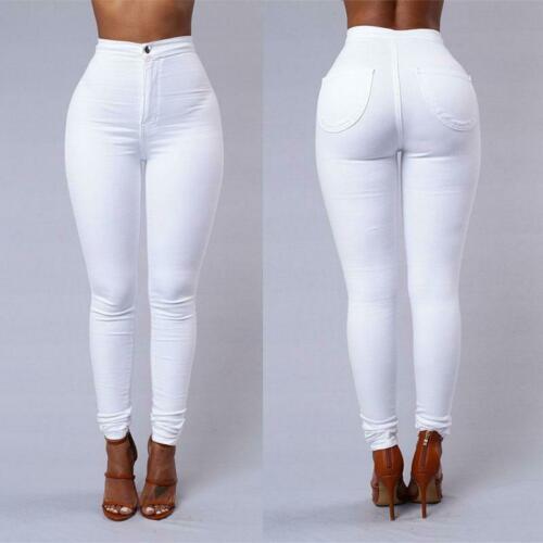 Женские модные однотонные леггинсы с высокой талией, брюки-карандаш, женские брюки, белые, черные, синие брюки