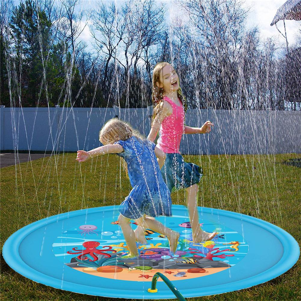 ¡Novedad de 170cm! Alfombra rociadora para niños, colchoneta de verano para jugar al agua al aire libre, juguete de cojín rociador inflable para césped