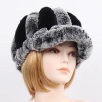 women knit hats womens fedoras real rex rabbit fur striped hats winter warm floral genuine fur caps lady natural fur hat