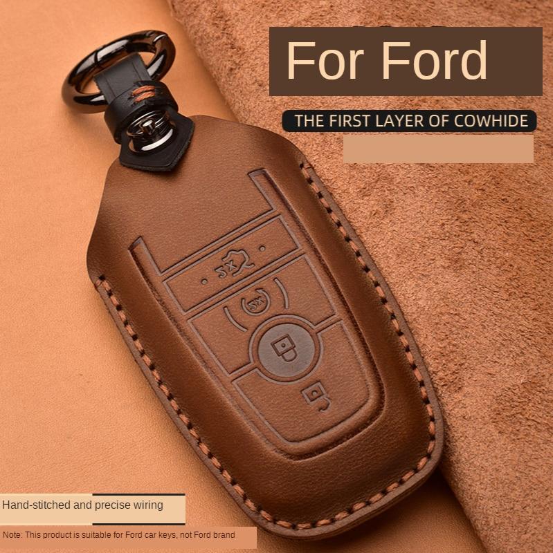 Funda de cuero Crazy Horse para llave de coche para Ford Mustang 2018 EcoSport control remoto inteligente Fobs funda bolsa para llaves llavero accesorios de coche