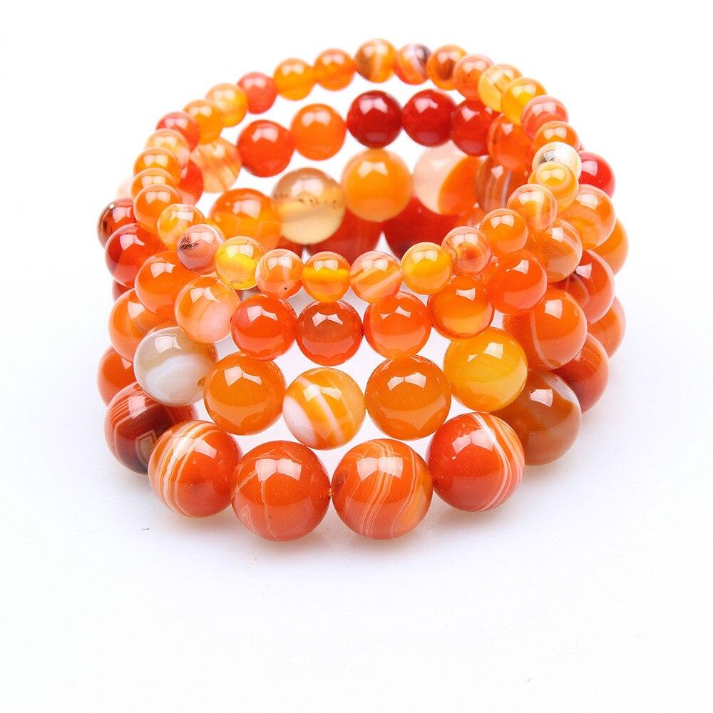 6mm 8mm 10mm 12mm laranja natural pedra pulseiras de pedra indiana ágata natural frisado redondo frisado estiramento pulseiras