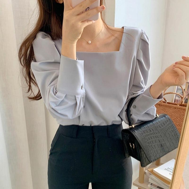 2020 квадратный воротник открытая ключица однобортная Однотонная рубашка для похудения с рукавами-фонариками Harajuku женские рубашки Блузка
