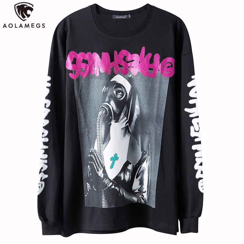 Aolamegs oração menina ilustração punk hit cor letra impresso o pescoço casual hip hop hipster moletom pulôver homem streetwear
