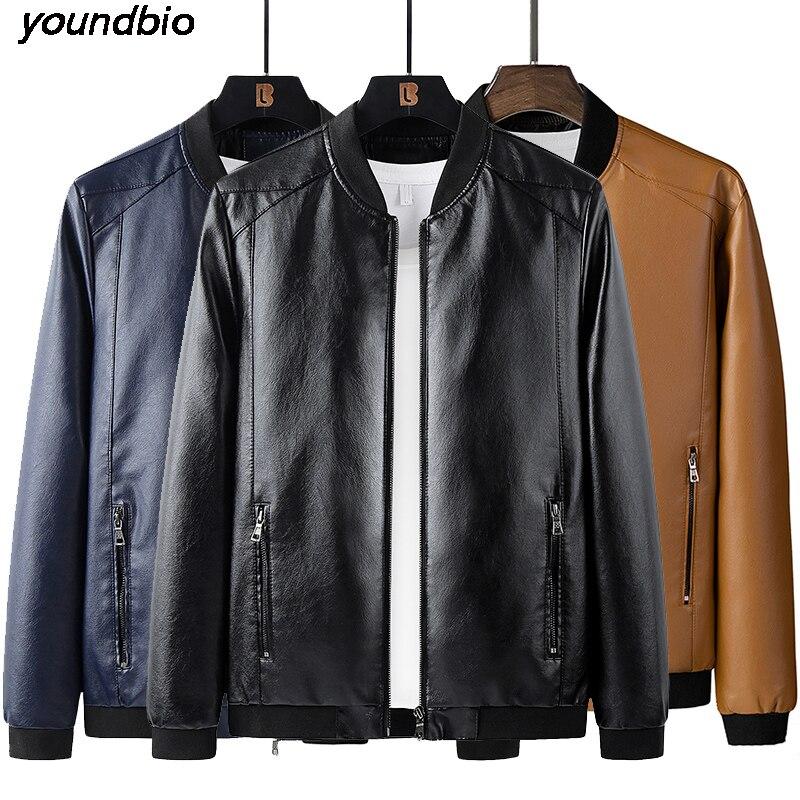Мужские кожаные куртки M-8Xl, классические мотоциклетные ковбойские куртки, мужские плотные пальто, зимнее пальто, мужские теплые куртки