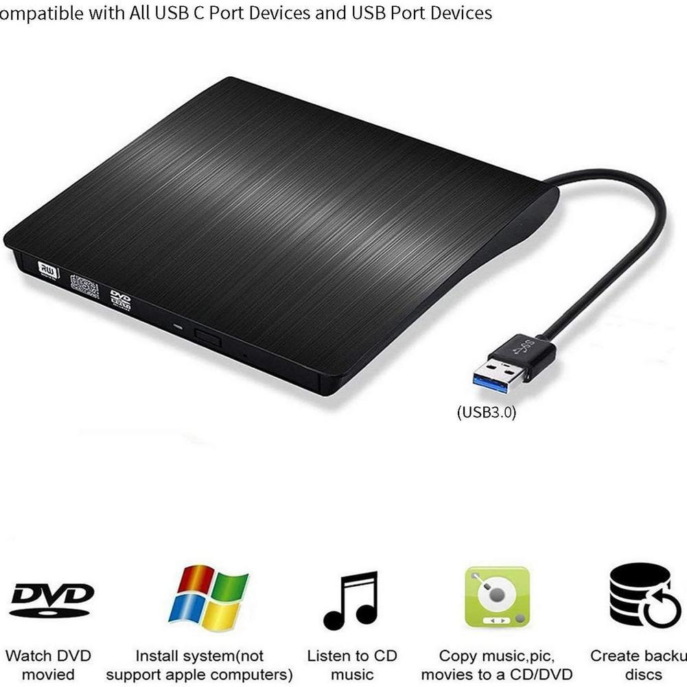 Portable USB 3.0 DVD-ROM CD ROM Optical Drive External Slim Disk Reader For Tablet PC External DVD-RW Player Writer Reader