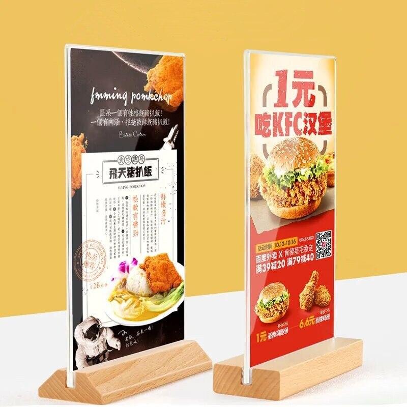 100*200 мм подставка для ресторана, таблицы, меню, таблички, стеллаж, деревянная основа, акриловая фоторамка для дисплея