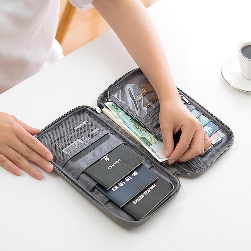 Porta pasaporte billete de aire funda protectora impermeable bolsa de almacenamiento de viaje bolsa de documentos portátil multifuncional