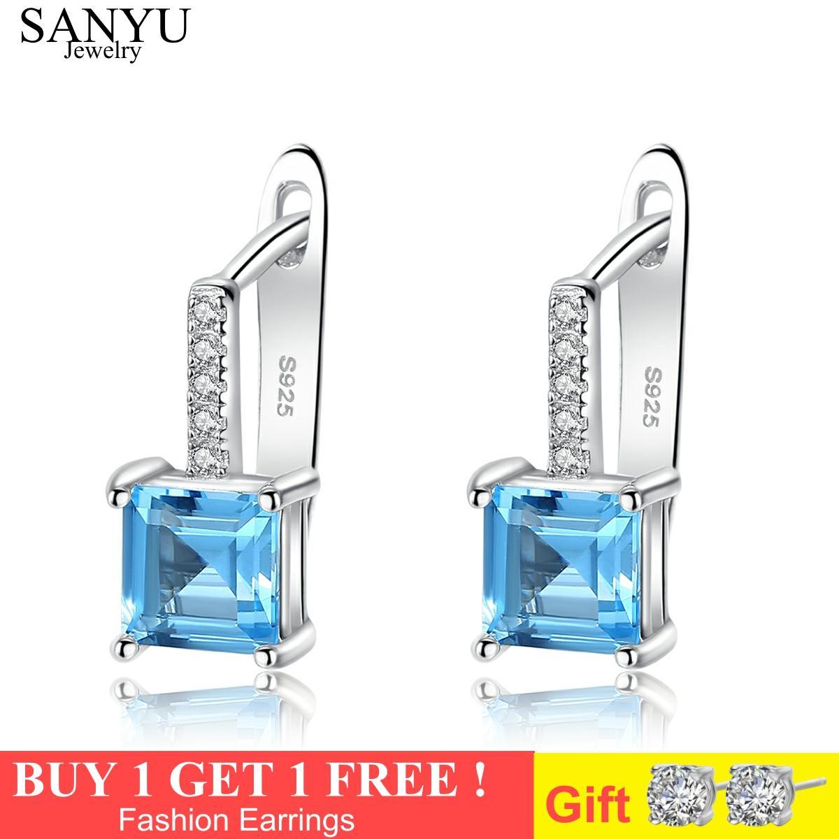 SANYU Topacio azul cielo piedras preciosas pendientes de tuerca para las mujeres sólida plata 925 joyería fina al por mayor regalo de boda SE9108