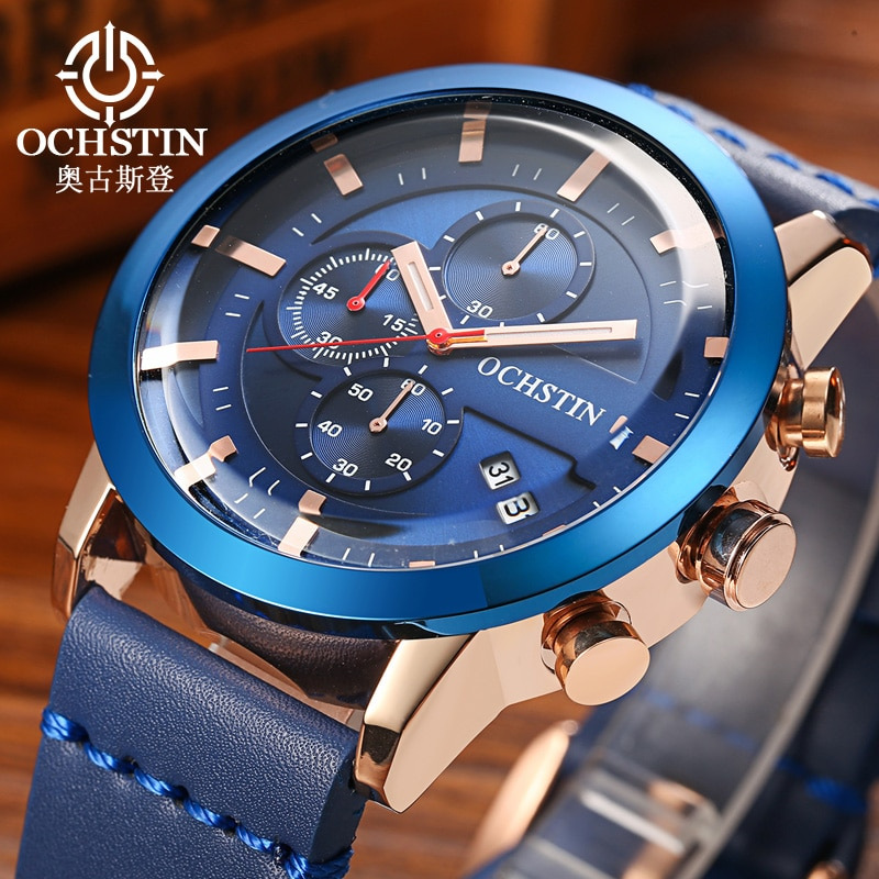 Reloj hombre ochstin moda esporte relógio masculino luxo multi-função cronógrafo casual relógio de pulso de couro presente relogio masculino