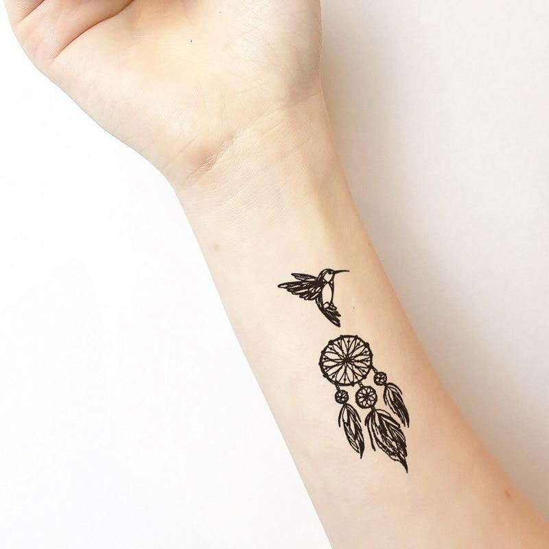 Atrapasueños colibrí Número de plumas tatuaje temporal pegatina impermeable mujeres hombres adultos arte de cuerpo falso 10.5X6cm tatuajes para niños