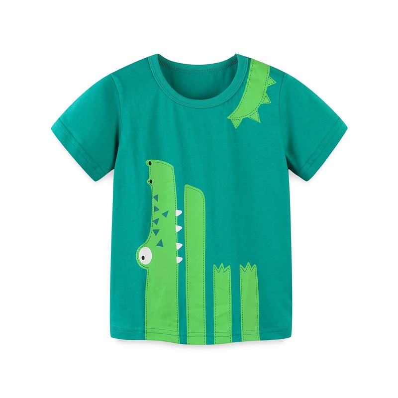 Boys Girls Cartoon T-shirts Kids Dinosaur Print T Shirt For Boys Children Summer Short Sleeve T-shirt Cotton Tops Clothing