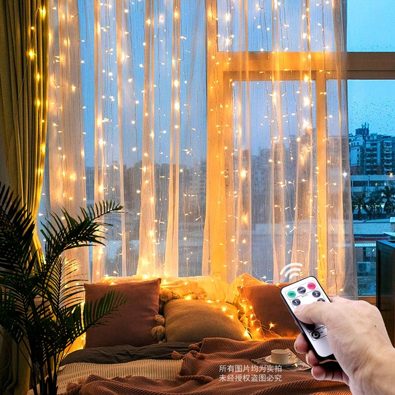 3M LED Christmas Fairy String Lights Remote Control USB New Year Garland Curtain Lamp Holiday Decoration For Home Bedroom Window