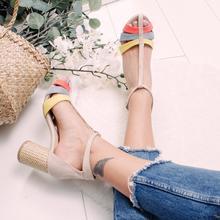 EOEODOIT letnie skórzane sandały wysokie obcasy buty Sexy Peep Toe damskie letnie klapki Plus rozmiar kolorowy Patchwork pompy buty