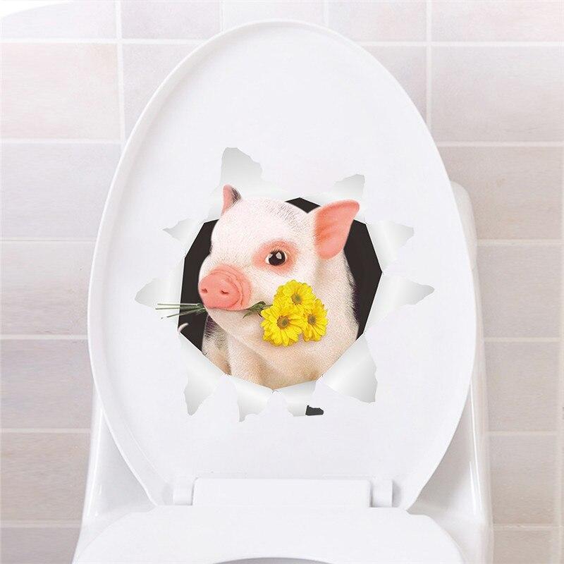 Pegatinas para pared de baño, decoración de pared para el hogar, decoración de pared, refrigerador, coche, pegatinas de arte, Mural, Agujero 3d con flor de cerdo