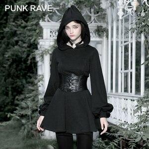 PUNK RAVE Girl's Dark Simple Temperament Autumn Winter Casual Long Sleeve Elf Hat Short Dresses Streetwear Women Sweatshirt