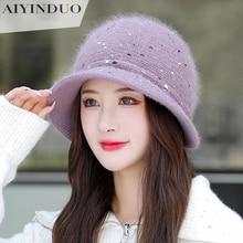 2021 Rabbit Hair Knit Hat Women Winter Plus Plece Thick Eargs Warm Mother Hats Leisure Middle Elderl