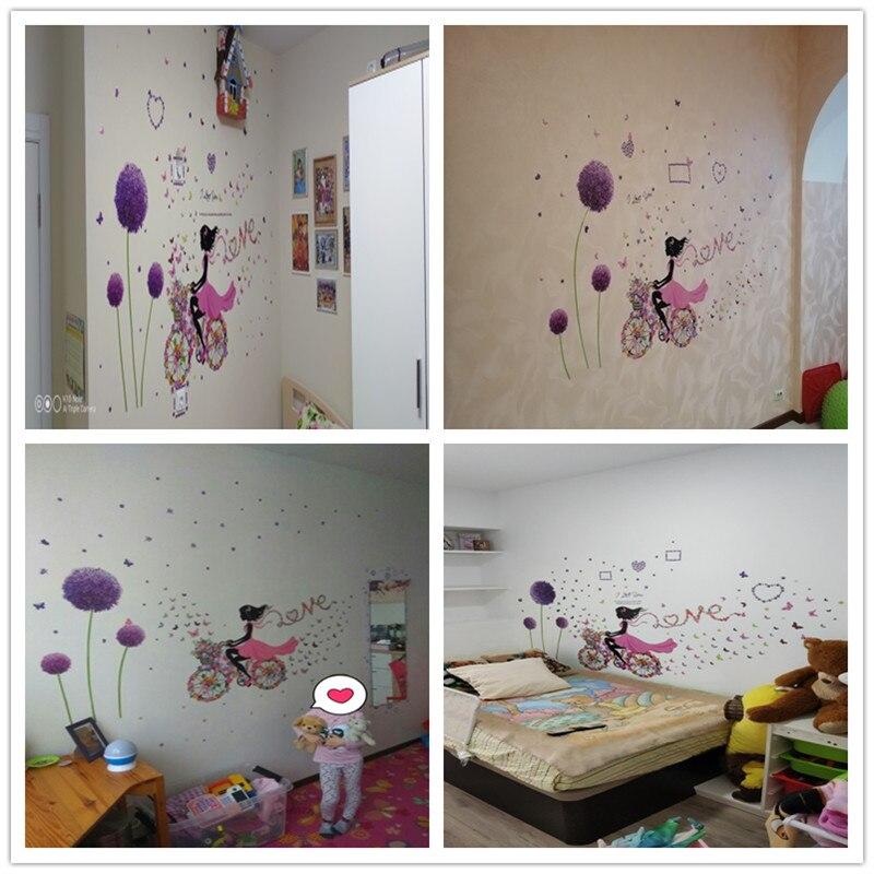 Купить с кэшбэком [shijuekongjian] Fairy Girl Wall Stickers DIY Dandelion Flowers Plant Mural Decals for Kids Rooms Baby Bedroom House Decoration