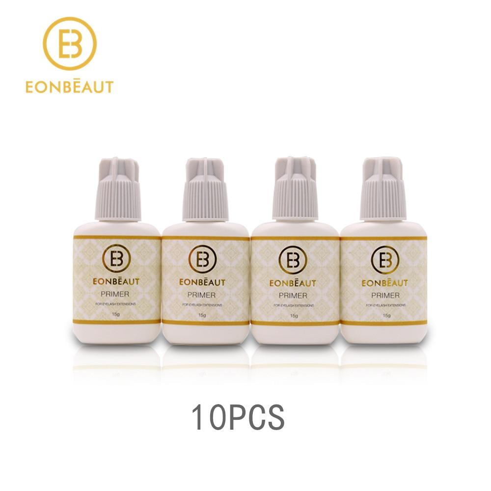 Pegamento Primer 10 Uds extensión de pestañas postizas pegamento 15ml EONBEAUT pegamento Primer herramienta de maquillaje para extensión de pestañas profesionales