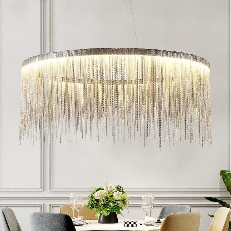 ما بعد الحداثة غرفة المعيشة مطعم سلسلة LED الثريا الشمال الإبداعية القماش مخزن شرابة التعاقد تركيبات إضاءة معلقة