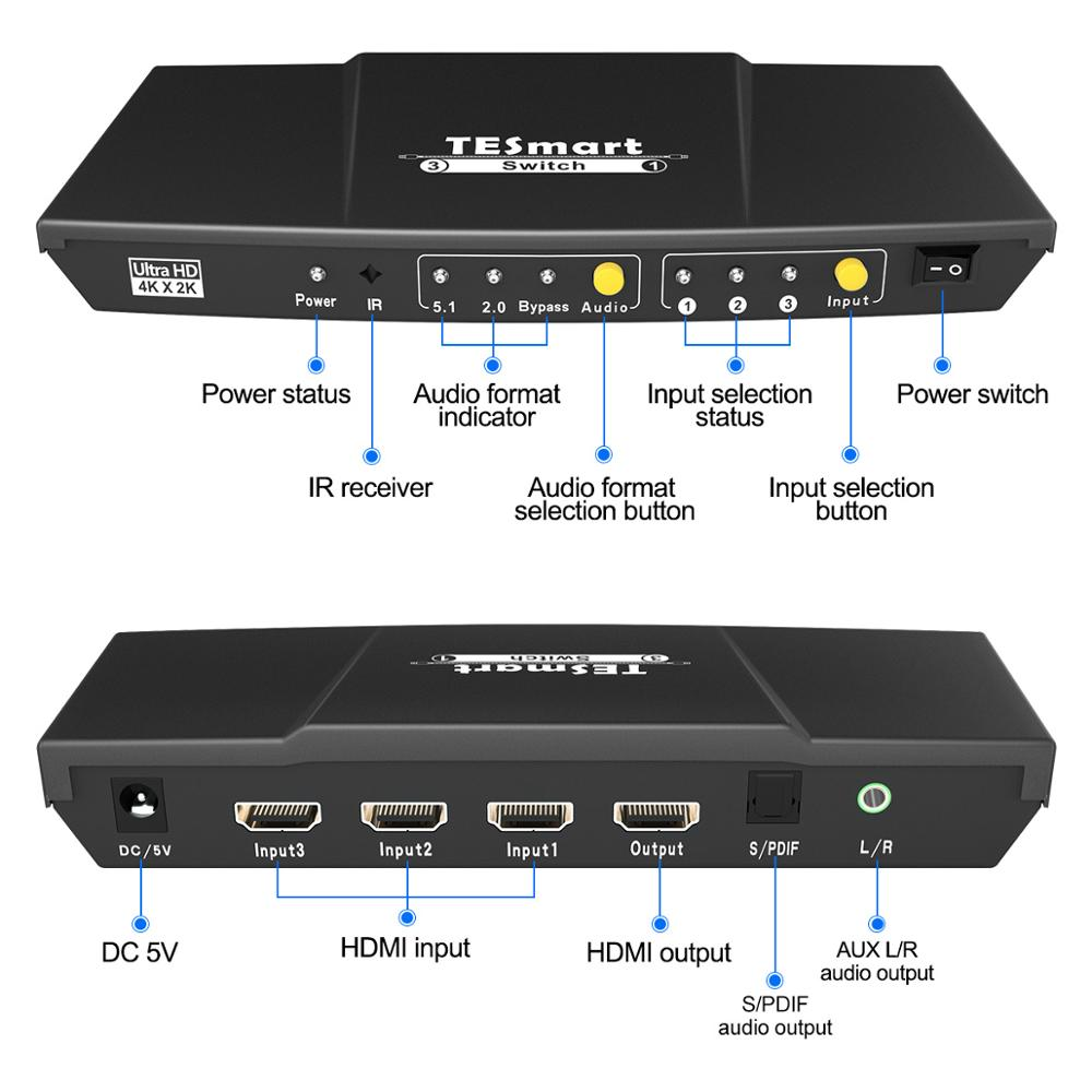 TESmart The Fastest Switch 3 In 1 Out HDMI Switch 3x1 with Audio Output Support HDTV 1080P 3D 4K