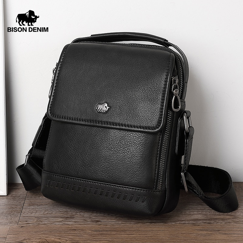 Bison denim couro genuíno negócio crossbody saco ipad dos homens saco do mensageiro aleta zip bolsa de ombro para masculino bolsas n20026