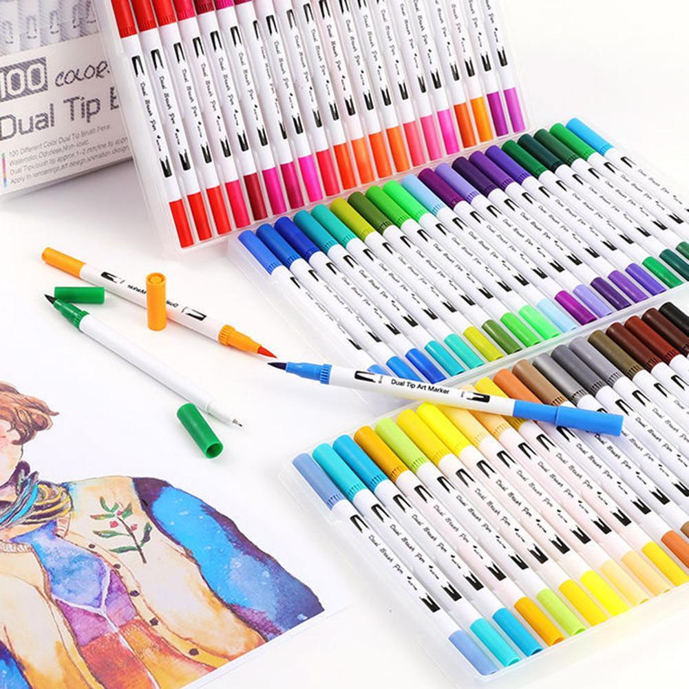 12/18/24/36/48/72/100 cor-duplo ponta pintura pintura infantil arte marcador caneta aquarela conjunto