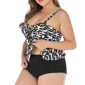 Womens Plus Size Swimwear Peplum Tankini Top Tummy Control 2 Piece Leopard Retro Swimsuit Large Size Ruffle Bikini Bathing Suit