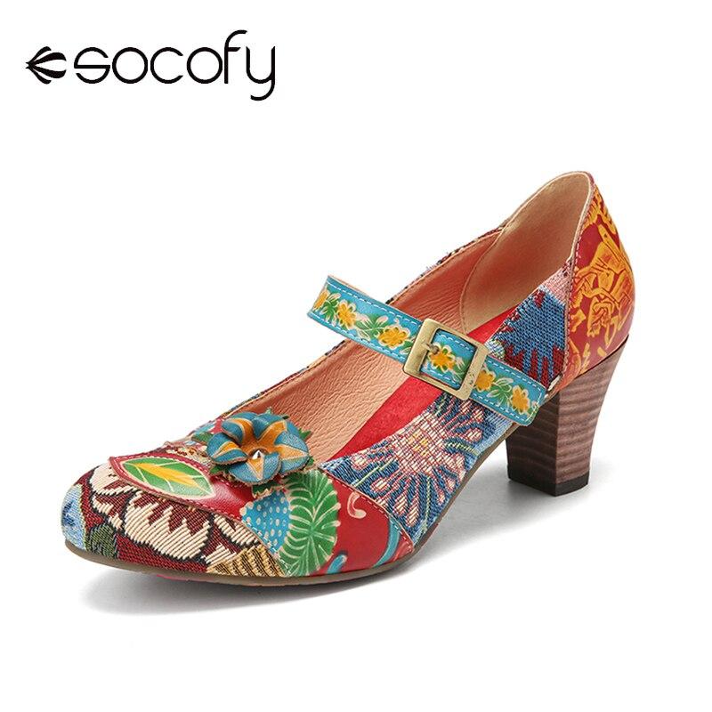 SOCOFY-حذاء نسائي بكعب عالٍ بتصميم أنيق ، ومضخات أنيقة ، وزهور ، وخياطة قماش مزهرة ، وخطاف ، وحلقة مانعة للانزلاق ، ونمط ماري جين