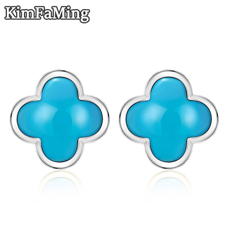 Trendy Women's Lucky Clover Turquoise Earrings in Silver Gemstone Fine Jewelry Casual Gift OPST038
