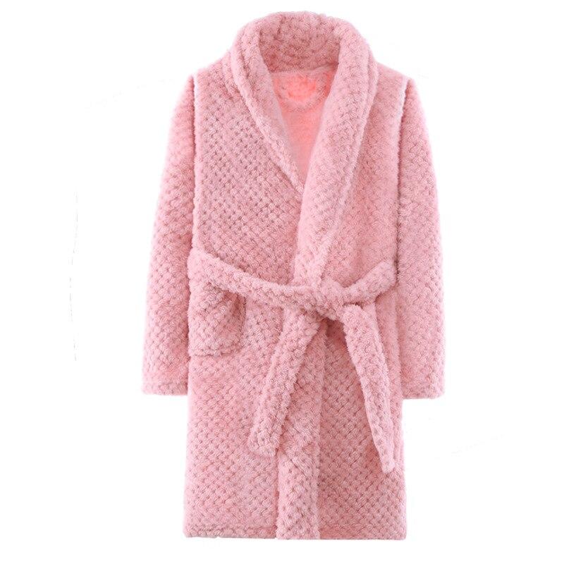 Vêtements de nuit épais pour enfants   Automne, hiver, peignoir chaud avec ceinture, peignoir de flanelle pour filles, pyjamas pour enfants garçons 4-15T