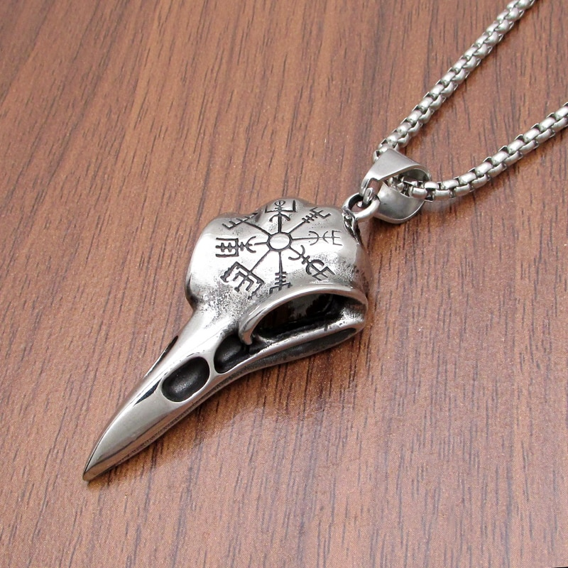 Frete grátis punk nórdico viking corvo crânio helm de awe colar 316l aço inoxidável corvo esqueleto pingente jóias presente