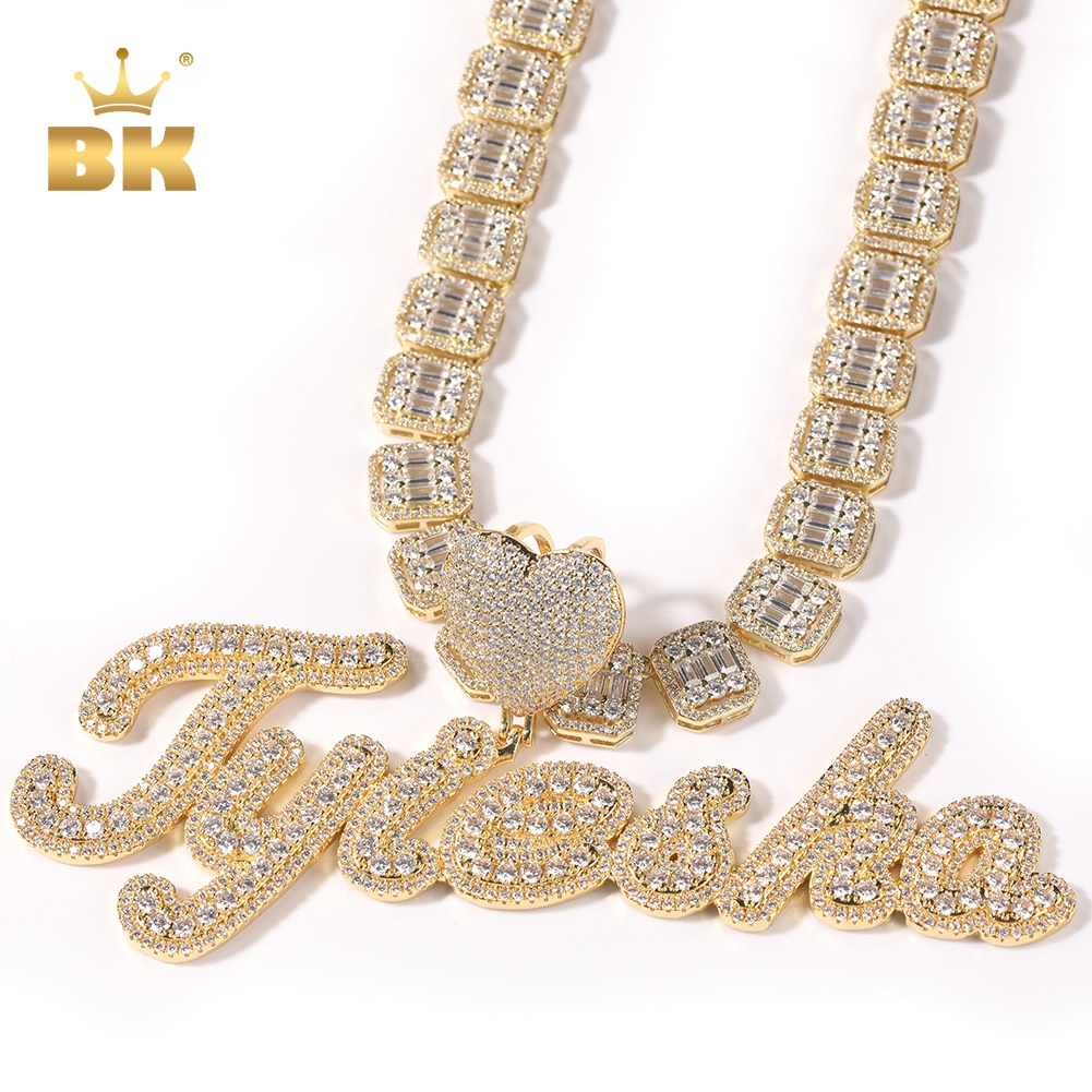 THE BLING KING Heart Bail Custom Brush Script Bubble Letter Two Tone Pendant Micro Paved CZ Personalized Necklace Hiphop Jewelry