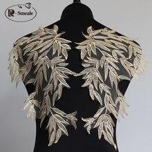 2 pares/4 Uds. Oro bambú hoja encaje lentejuelas espejo parche aplique flores encaje vestido de boda disfraz Diy tela accesorios RS2520