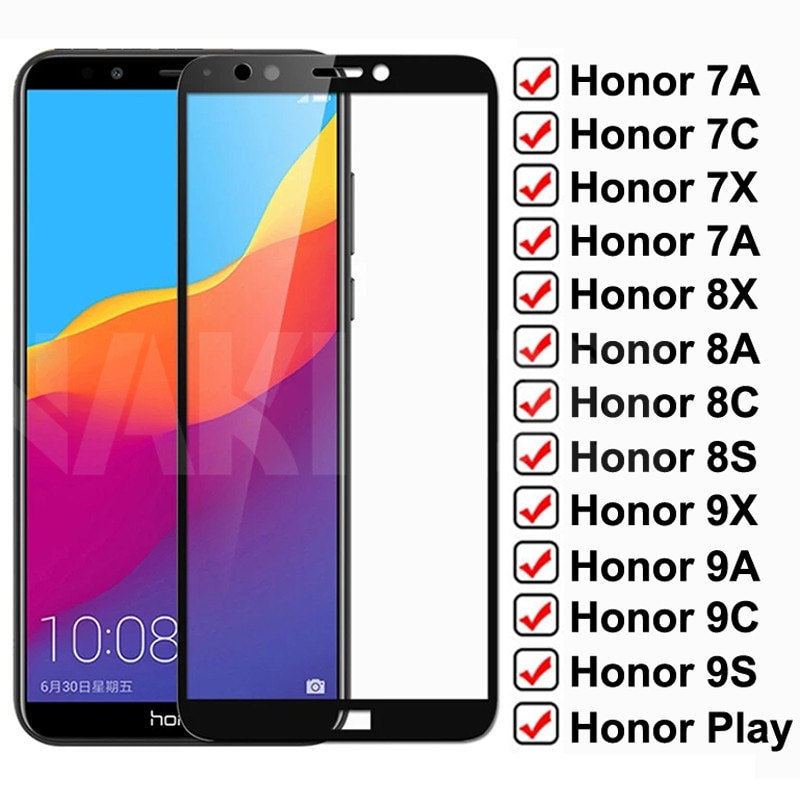 9D Protective Glass For Huawei Honor 7A 7C 7X 7S Full Cover Tempered Glass Honor 8X 8A 8C 8S 9X 9A 9
