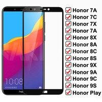 9D Защитное стекло для Huawei Honor 7A 7C 7X 7S полное покрытие закаленное стекло для Honor 8X 8A 8C 8S 9X 9A 9C 9S Play защита для экрана