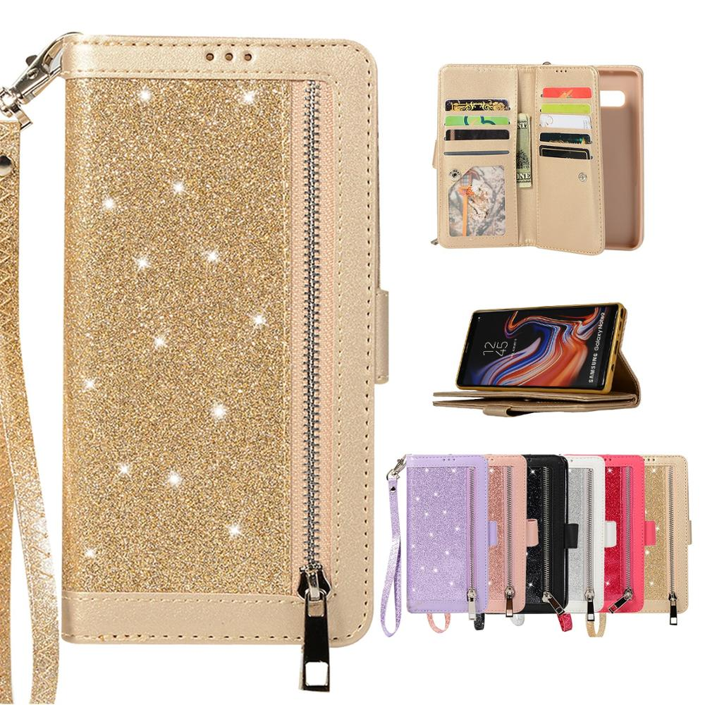 Glitter Zipper Leather Case For Samsung Galaxy J6 2018 J4 Plus Wallet Phone Bag For Samsung J3 J5 J7 J4 J6 Plus Pouch Case EEMIA