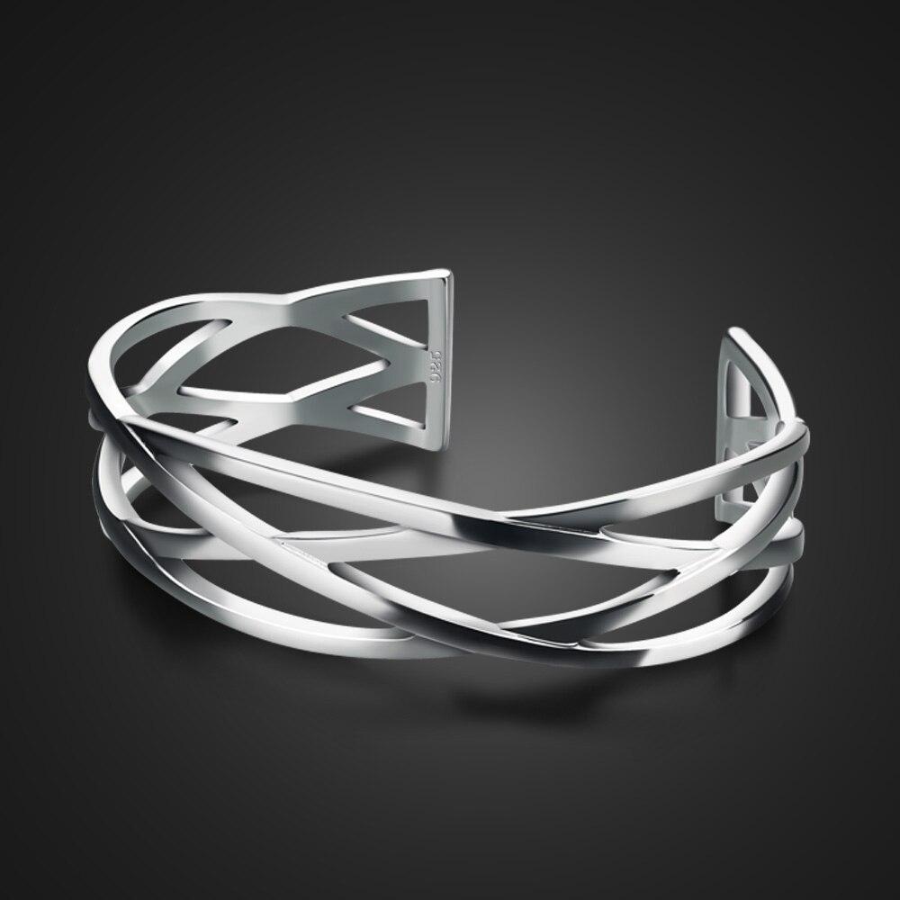 Vintage 100% 925 Sterling Silber Armband Für Frauen Mode Hohl Geometrische Armband & Bangles16MM Breite Wrap Schmuck Geschenk