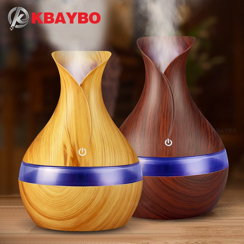 KBAYBO 300ml USB electric Aroma Essential Oil Diffuser Ultrasonic Air Humidifier Wood Grain LED Lights aroma diffuser for home