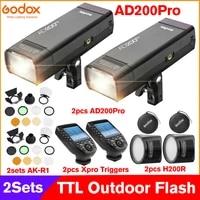 2sets godox ad200pro outdoor flash light kits 200ws ttl 2 4g 18000 hss 0 01 1 8s recycling speedlite with battery flash strobe