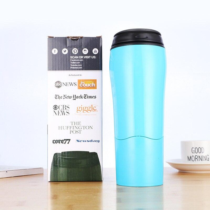 Taza creativa de doble capa de estilo Simple de 400-500ml, taza mágica de café, hervidor de agua para viajes al aire libre, botella invertida para regalo, caja de agua