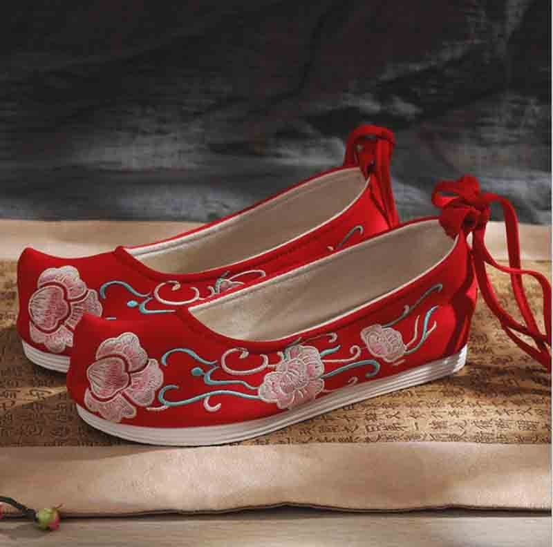 Women Hanfu Shoes Chinese Ancient Canvas Flat Vintage Embroidery Cosplay Wedding For Gift