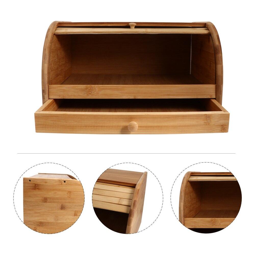 1 قطعة صندوق خبز آمن من الخيزران صندوق تخزين بسعة كبيرة للاستخدام المطبخ (كاكي)