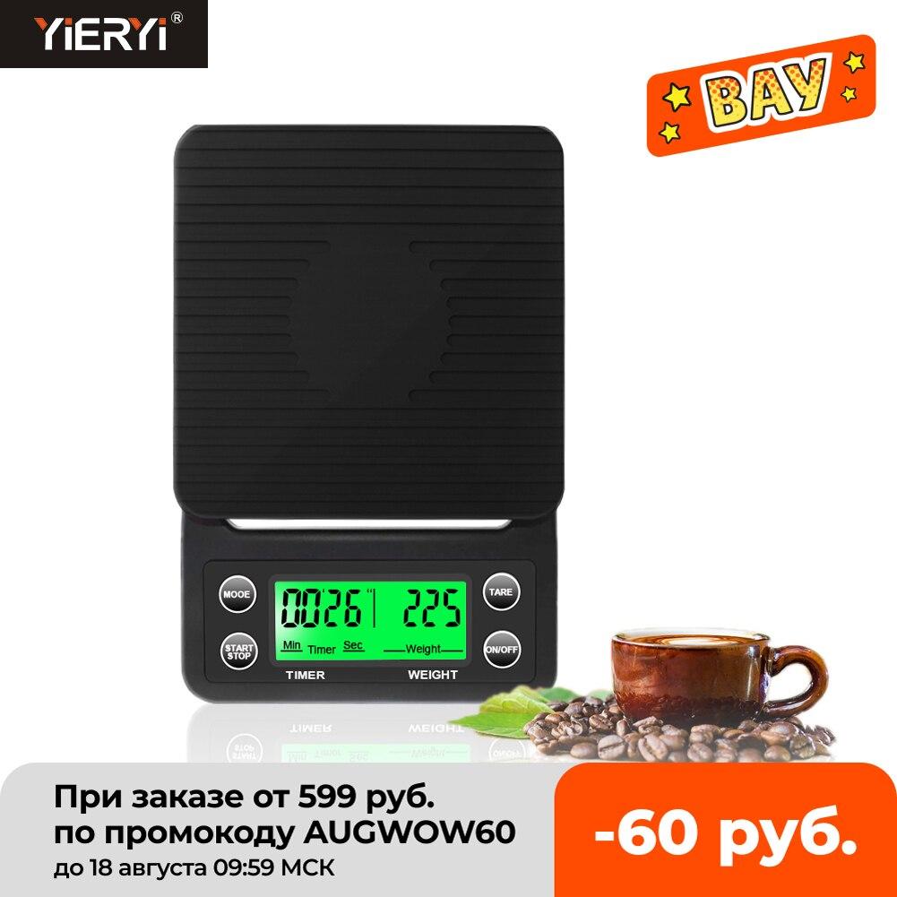 Высокоточные цифровые кухонные весы, капельные весы для кофе с таймером, ЖК-дисплей, 3 кг/0,1 г, 5 кг/0,1 г