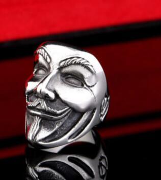 Anillo de acero inoxidable nuevo V para vendetta V máscara hombre anillo motorista calavera joyería de moda