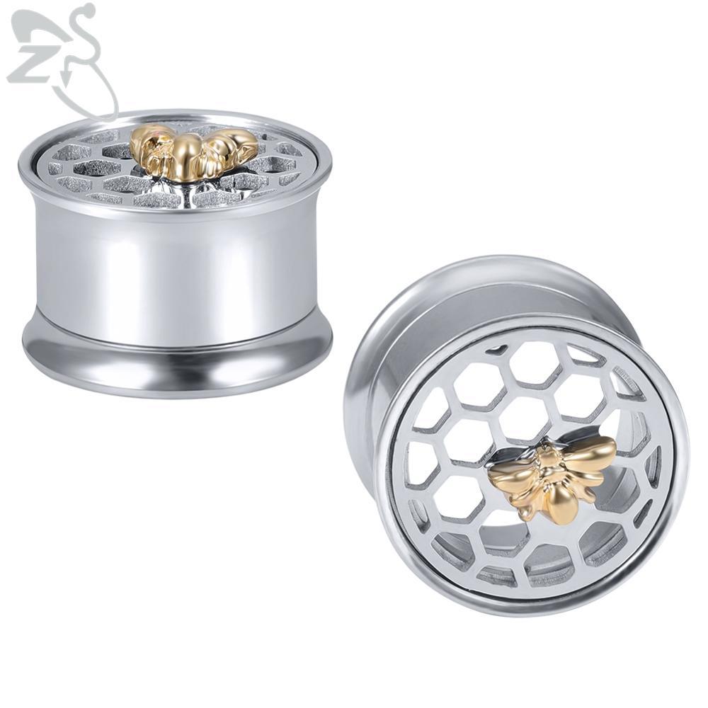 ZS 1 Pair Double Flare Stainless Steel Ear Plugs Tunnel Bee Ear Gauges Earring  Ear expansiones de oreja Body Piercing Jewelry